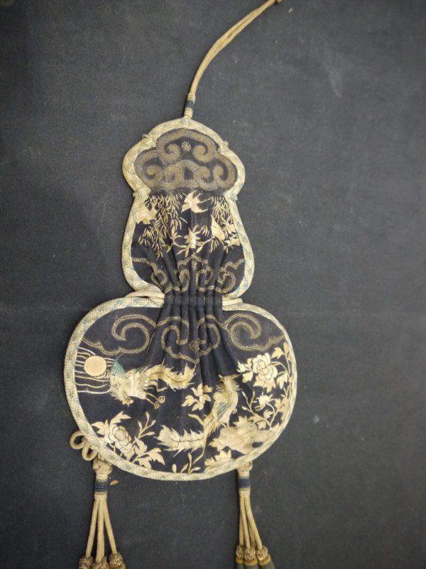 Hebao - sac bourse soie et passementerie Chine XIXème