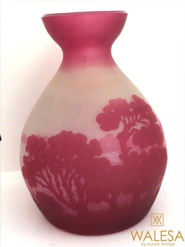 Rare Vase en cristal du Val Saint Lambert gravé à l'acide