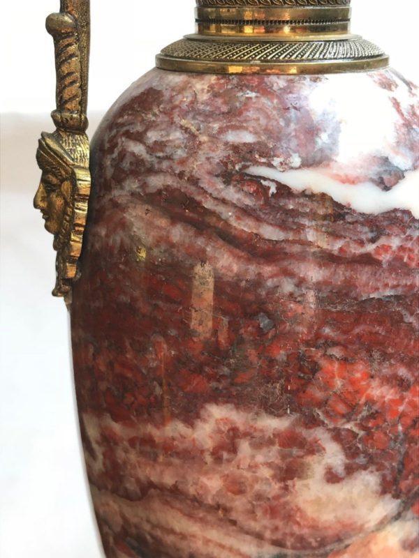 Grande paire de cassolettes vases bronze marbre Empire