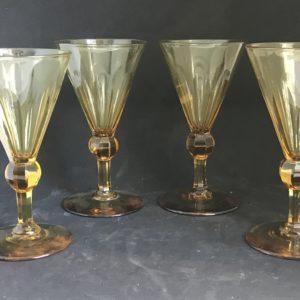 4 verres Topaze ART DECO CRISTAL VAL SAINT LAMBERT