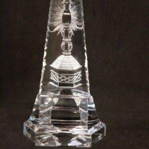 sculpture prisme cadeau communion cristal clair taillé Val Saint Lambert - Signé