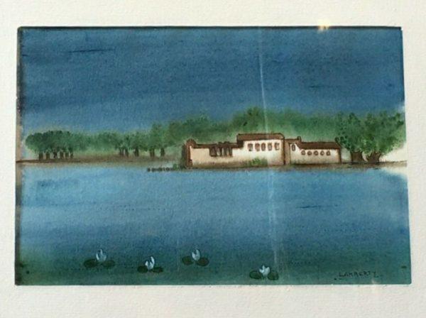 Clélie LAMBERTY (1930-2013) Peintre Liège - Aquarelle - Maison Blanche