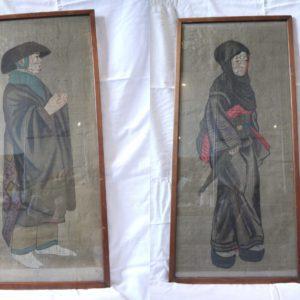 Japon ancienne paire de portraits sur soie