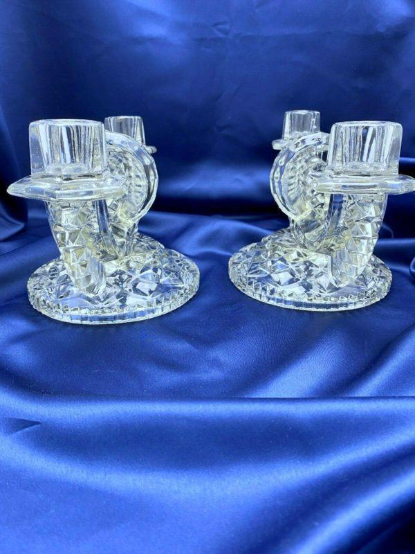 Paire chandeliers Art Déco, verre moulé pressé TCHECOSLOVAQUIE
