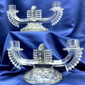Paire chandeliers Art Déco, verre moulé pressé TCHECOSLOVAQUIE 1920-1930