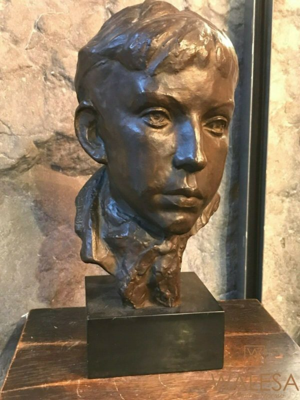 Buste Bronze tête de jeune homme signé Gustave Jacobs