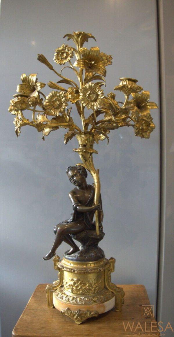 Candélabre bronze doré enfant corne d'abondance