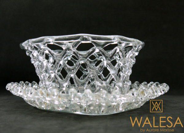 Corbeille et plateau en vannerie de cristal 18ème