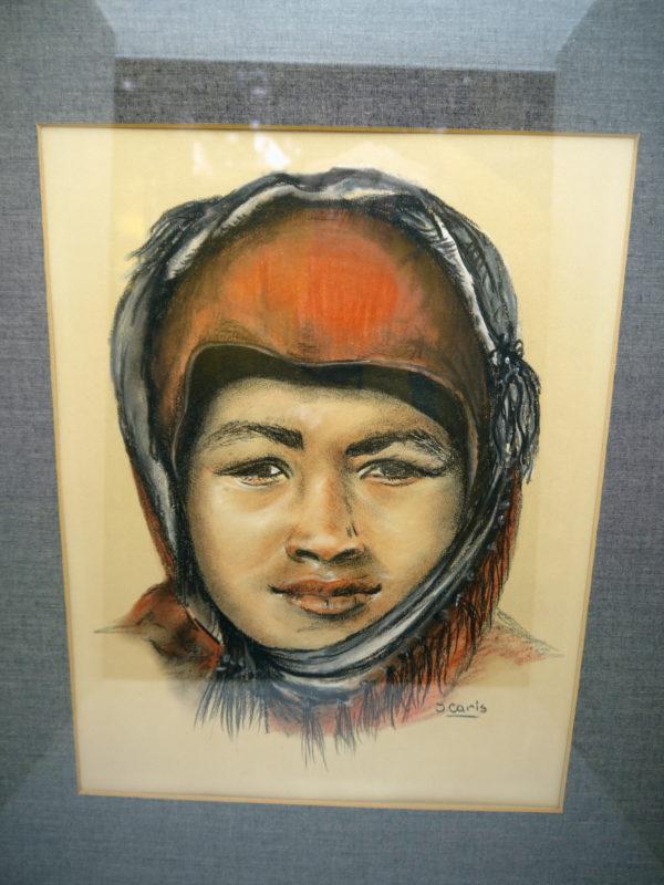 Portrait pastel et fusain signé J Caris