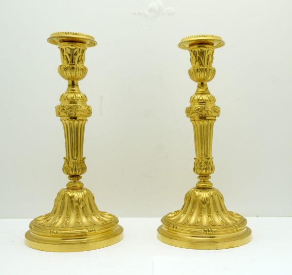paire de flambeaux bronze doré style Louis XVI