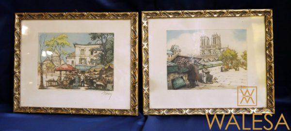 paire de gravures colorisées Paris BARON Marcel Julien