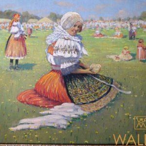 Starý Huile sur toile fête villageoise dans le goût de Jan Hála