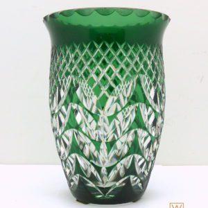 Vase cristal clair doublé vert et taillé Val Saint Lambert