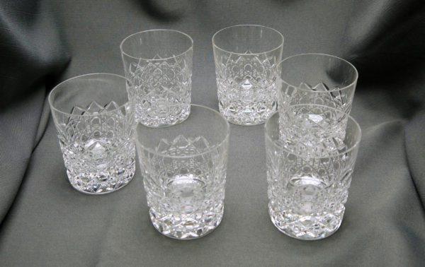 6 gobelets à Whisky cristal clair taillé signés Val Saint Lambert