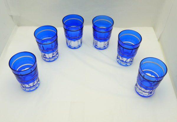 6 gobelets à thé Art Deco Val Saint Lambert