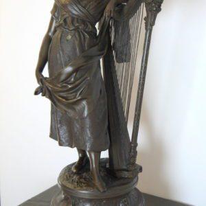 Auguste Moreau (1834-1917) Sculpture, Femme à la harpe - 66 cm - Régule - ca. 1900