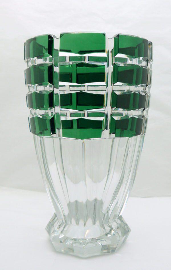 Grand Vase Art Déco cristal clair doublé vert et taillé Val Saint Lambert