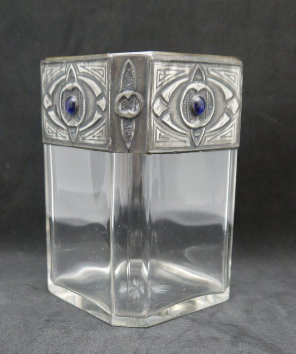 Vase art nouveau sécession viennoise cristal et étain