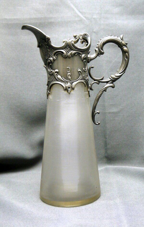 Aiguière cristal et étain argenté Louis XV