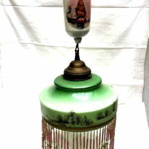 Lustre 1900 en verre et porcelaine à décor peint