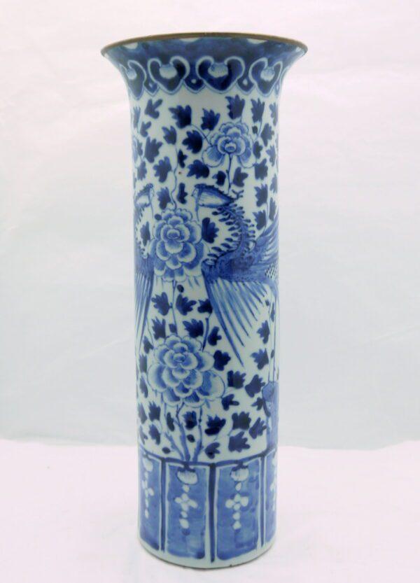 Vase Rouleau Porcelaine de Chine Dynastie Qing fin XIXème