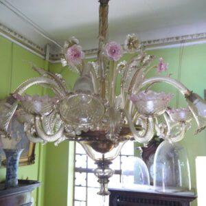 Grand lustre Murano cristal fumé et rose